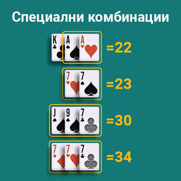 Специални комбинации  при игра на Свара